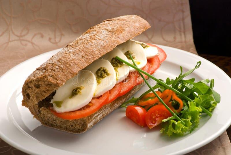 传统意大利三明治用无盐干酪、新鲜的蕃茄和pesto在一块白色板材 免版税库存图片