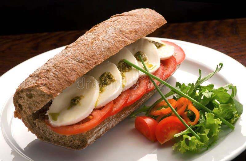 传统意大利三明治用无盐干酪、新鲜的蕃茄和pesto在一块白色板材 免版税库存照片