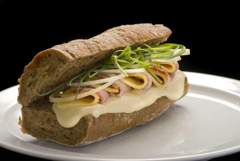 传统意大利三明治用火腿、乳酪和葱在一块白色板材 免版税库存图片