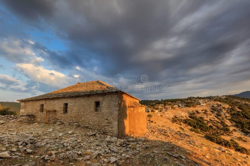 传统房子在Kastro村庄,希腊 免版税库存图片