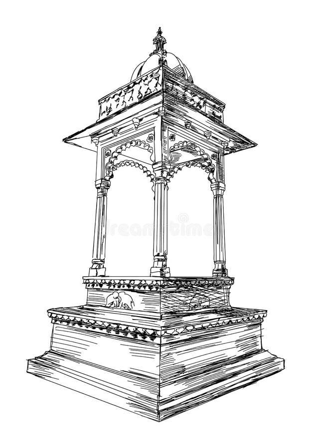 传统拉贾斯坦建筑学大厦曲拱传染媒介Illustra 免版税库存图片