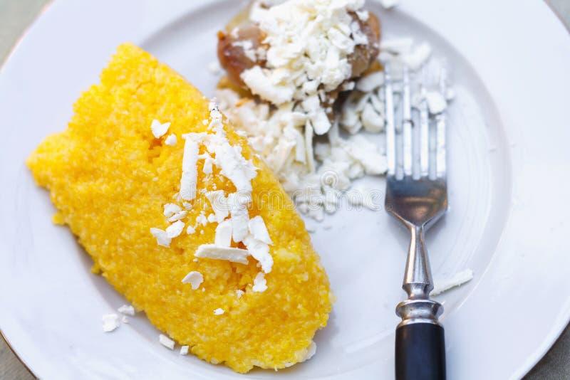 传统摩尔达维亚,意大利语和罗马尼亚棒子面粥用肉和调味汁 免版税库存图片