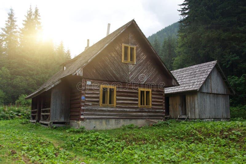 传统斯洛伐克的木材之家 免版税库存照片