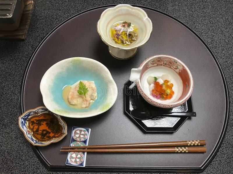 传统日本晚餐ryokan箱根 免版税库存图片
