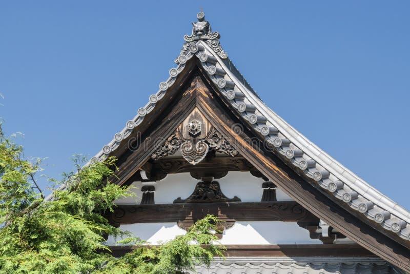 传统日本木房子细节在京都,日本 免版税库存图片