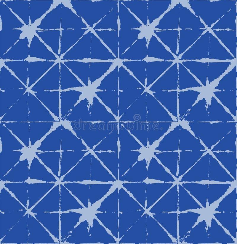 传统日本领带染料装饰品有机和服传染媒介无缝的样式 亚洲时尚织品水彩蜡染布印刷品,Wabi萨比 向量例证