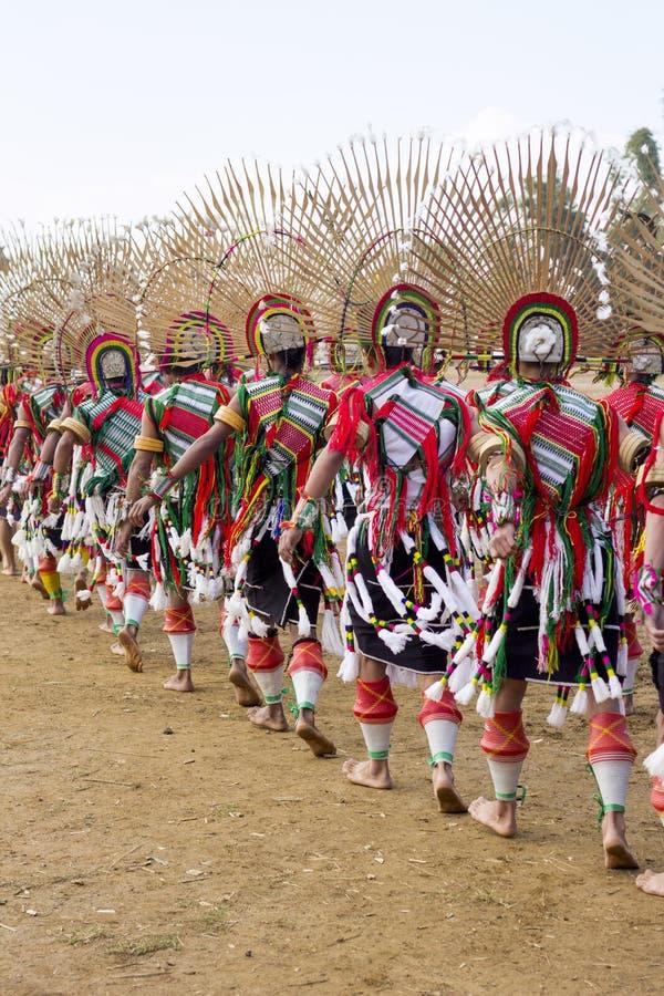 传统服装在那加兰邦,印度 库存图片