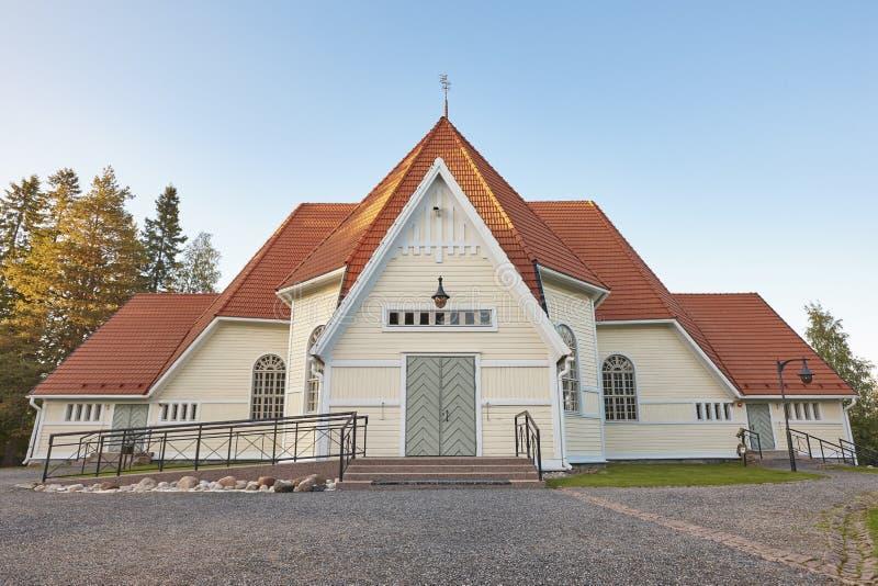 传统木教会在芬兰 Haukipudas 芬兰landma 库存照片