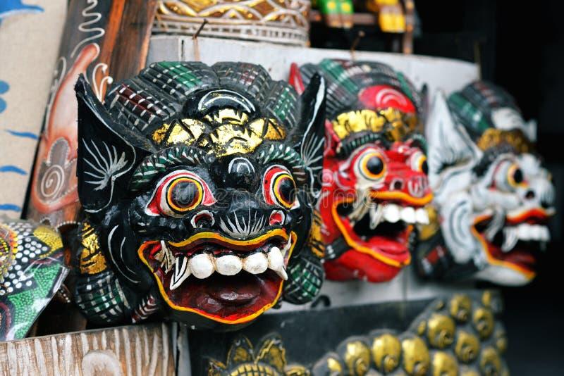 传统木面具巴厘岛,印度尼西亚 库存照片