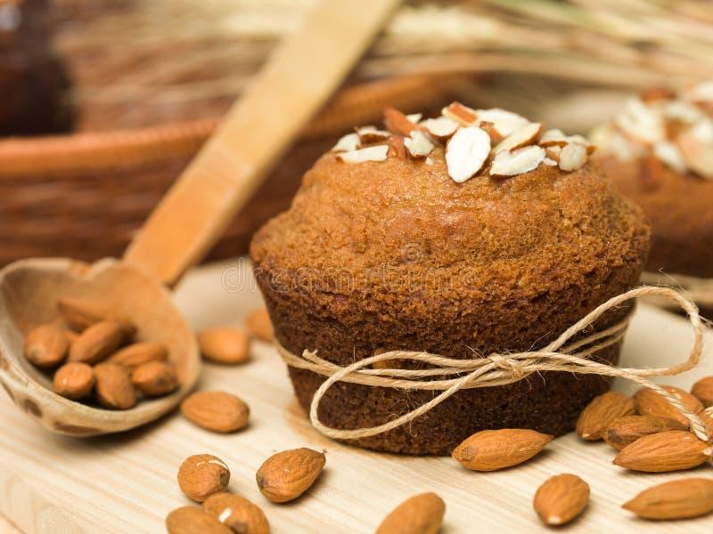 传统杏仁松饼杯形蛋糕 库存图片