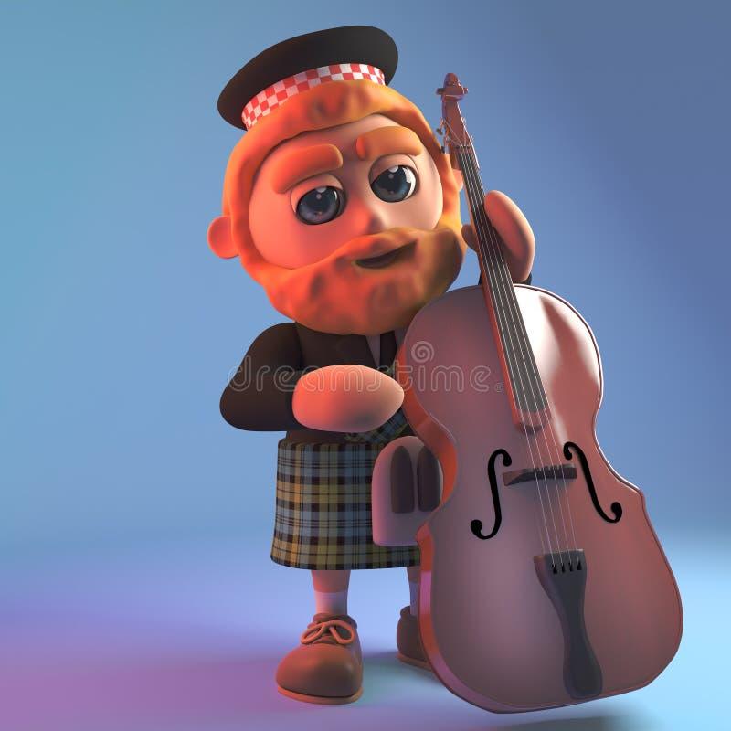 传统格子呢苏格兰男用短裙的音乐苏格兰男子播放低音提琴,3d例证 皇族释放例证