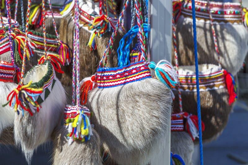传统民族志学sami袋子由鹿毛皮制成 库存图片