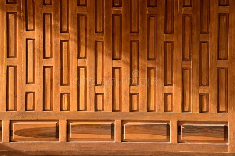 传统泰国木古老房子墙壁 内部木设计生活习俗 库存图片