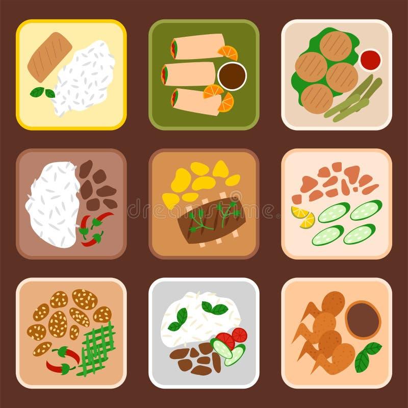 传统泰国烹调可口传染媒介例证的食物亚洲板材烹调泰国海鲜大虾 皇族释放例证