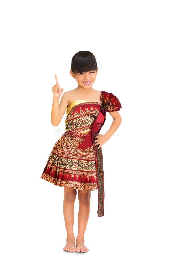 传统泰国衣裳的小女孩 免版税库存图片