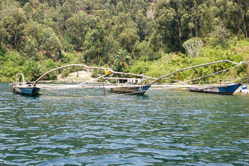 传统渔夫湖Kivu小船 免版税库存照片
