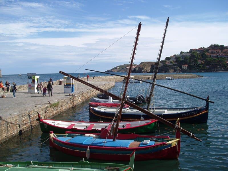 传统渔船在科利乌尔,法国 免版税库存照片