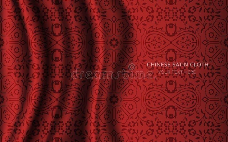 传统红色中国丝绸缎织品布料背景星 皇族释放例证