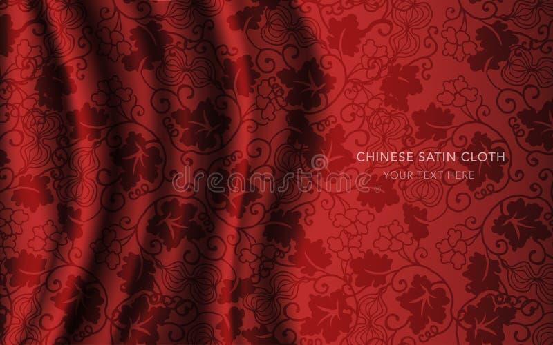 传统红色中国丝绸缎织品布料背景金瓜 向量例证