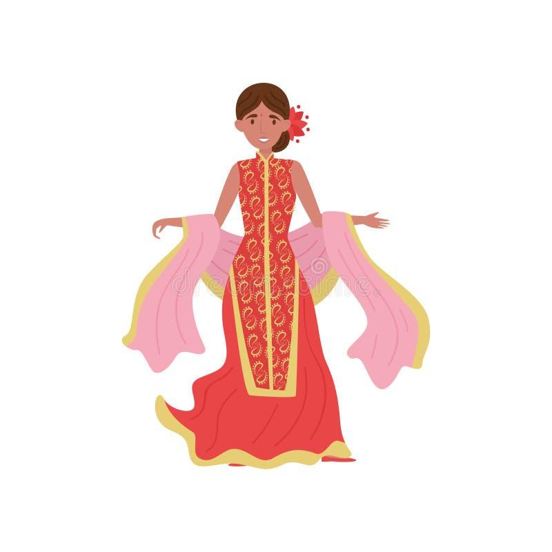 传统红色礼服传染媒介例证的美丽的印地安妇女在白色背景 库存例证