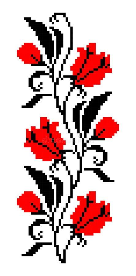 传统罗马尼亚花卉刺绣边界 库存图片