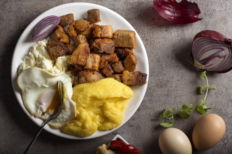 传统罗马尼亚食物` Tochitura Moldoveneasca ` 免版税库存图片