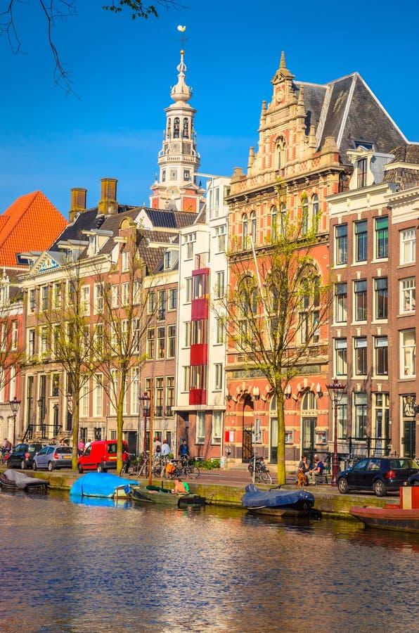 传统老大厦在阿姆斯特丹, Netherland 库存图片