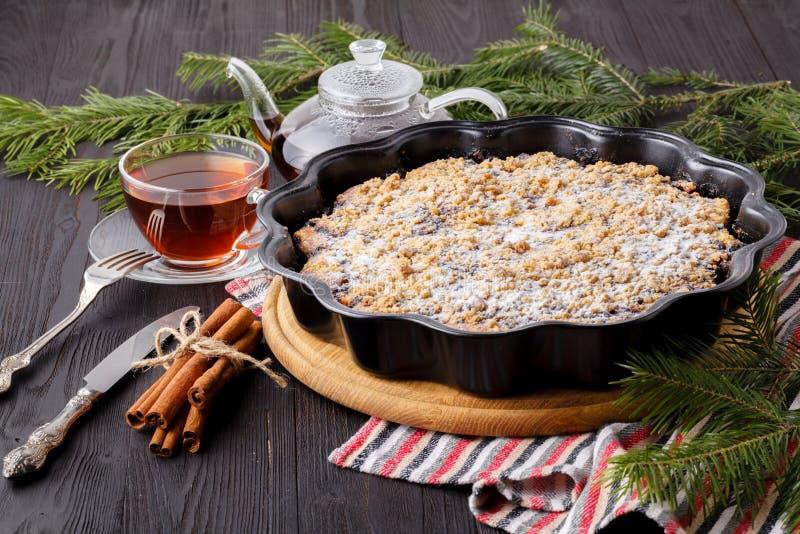 传统自创巧克力圣诞节蛋糕洒与糖粉末,新年与雪的树装饰 免版税库存照片