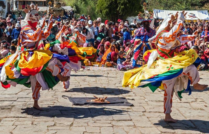 传统节日在Bumthang,不丹 免版税库存图片