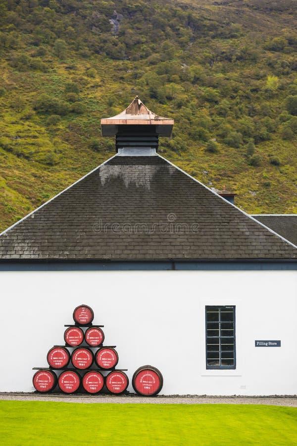 传统苏格兰威士忌酒槽坊仓库,阿伦岛, 免版税库存照片
