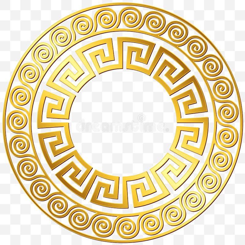 传统葡萄酒金希腊装饰品,河曲 库存例证