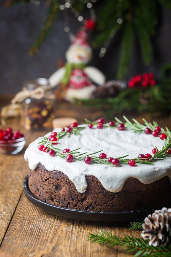 传统蛋糕的圣诞节 免版税库存照片