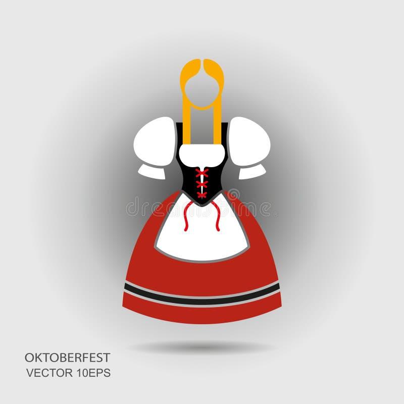 传统衣裳的Octoberfest德国女孩 向量例证