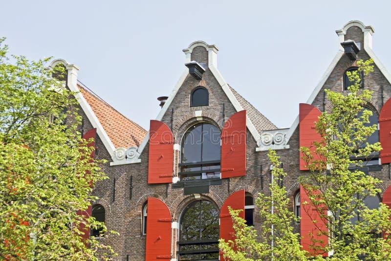 传统阿姆斯特丹荷兰语门面的荷兰 库存图片