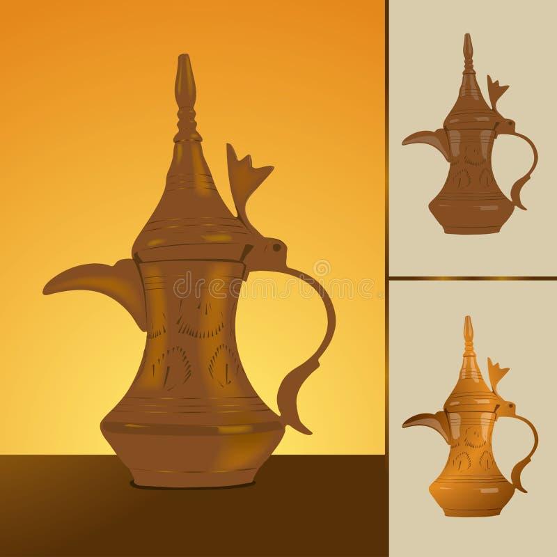 传统阿拉伯咖啡的dallah 向量例证