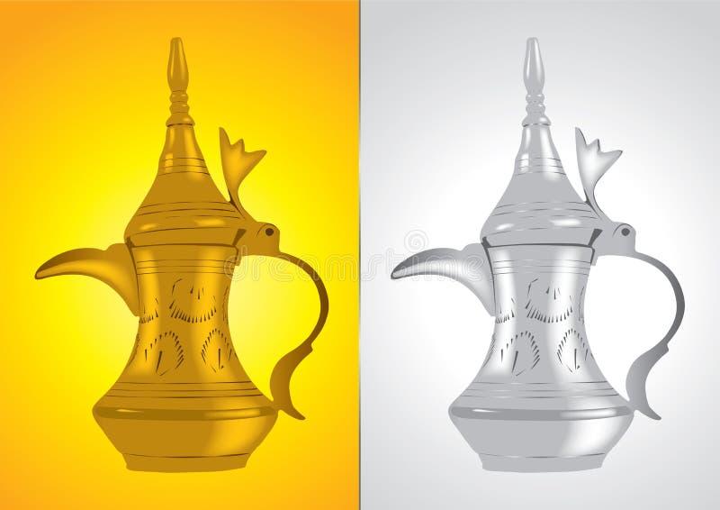 传统阿拉伯咖啡dallah的罐 向量例证