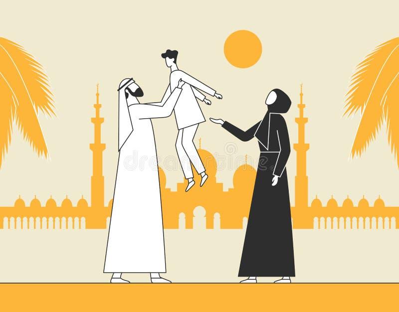 传统阿拉伯家庭,回教清真寺 抱孩子,有儿子的父母的人 r 皇族释放例证