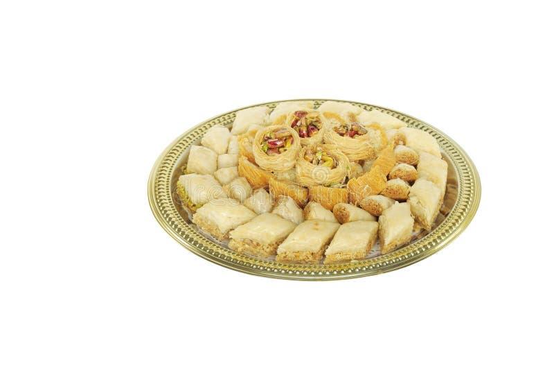 传统阿拉伯果仁蜜酥饼的甜点 免版税库存图片