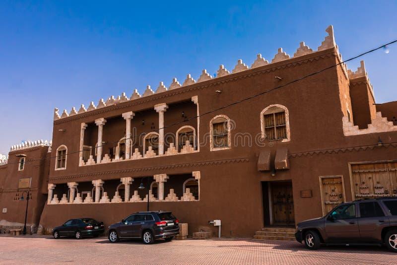 传统阿拉伯泥建筑学,利雅得省,沙特阿拉伯 图库摄影