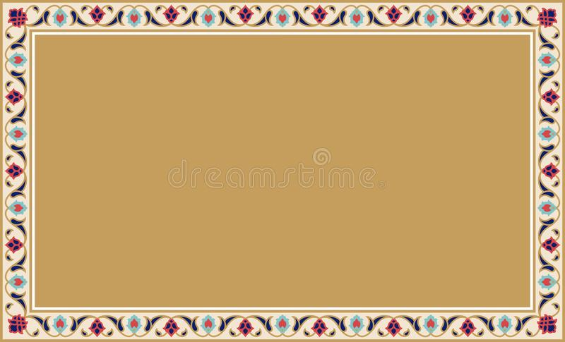 传统阿拉伯花卉框架 库存例证