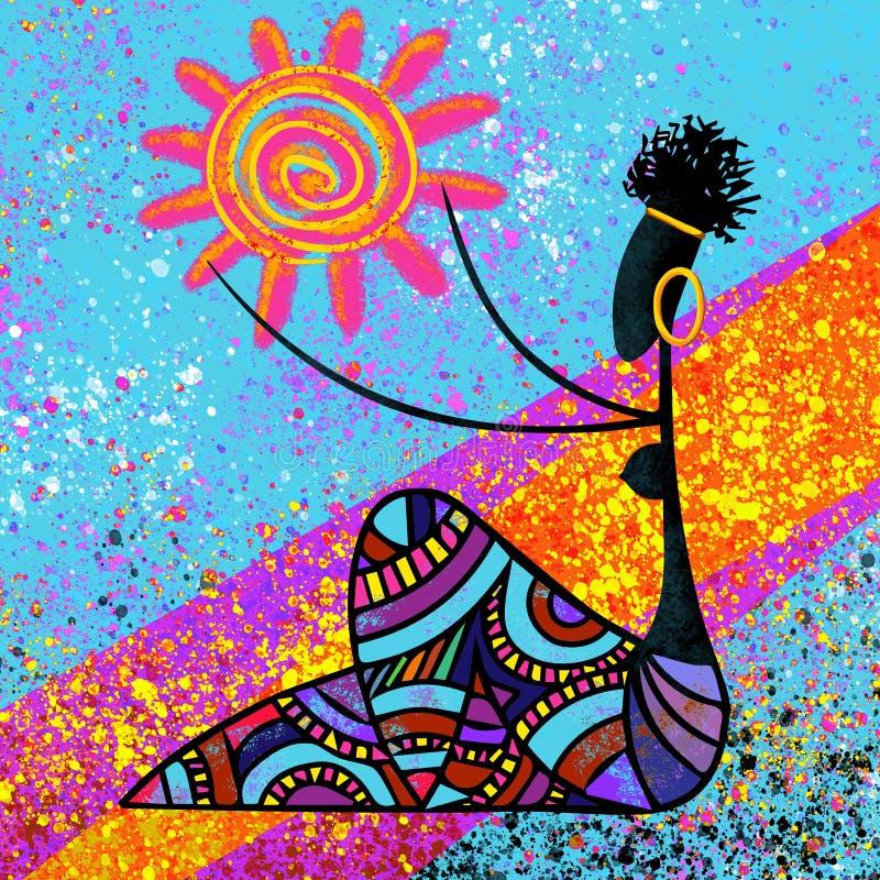传统非洲美丽的黑人女孩拿着在蓝色背景例证的太阳数字式绘画艺术品 皇族释放例证