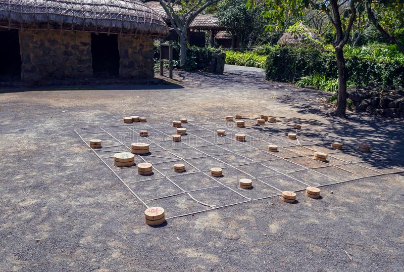 传统韩国室外游戏在民间村庄博物馆 免版税库存图片