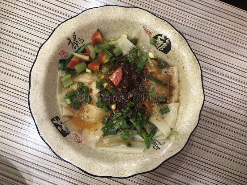 传统食物在临潼,中国叫Biángbiáng面条 库存照片