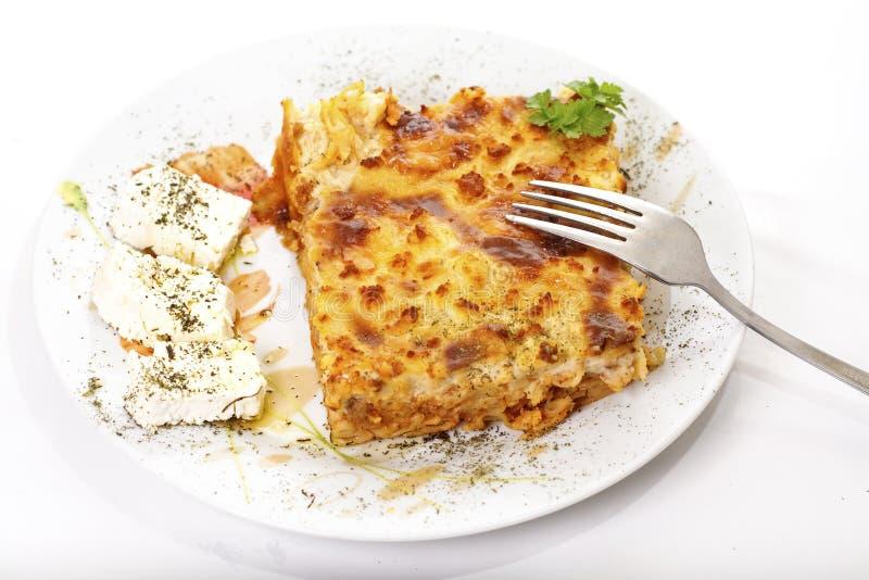 传统食物希腊的pastitsio 免版税库存图片
