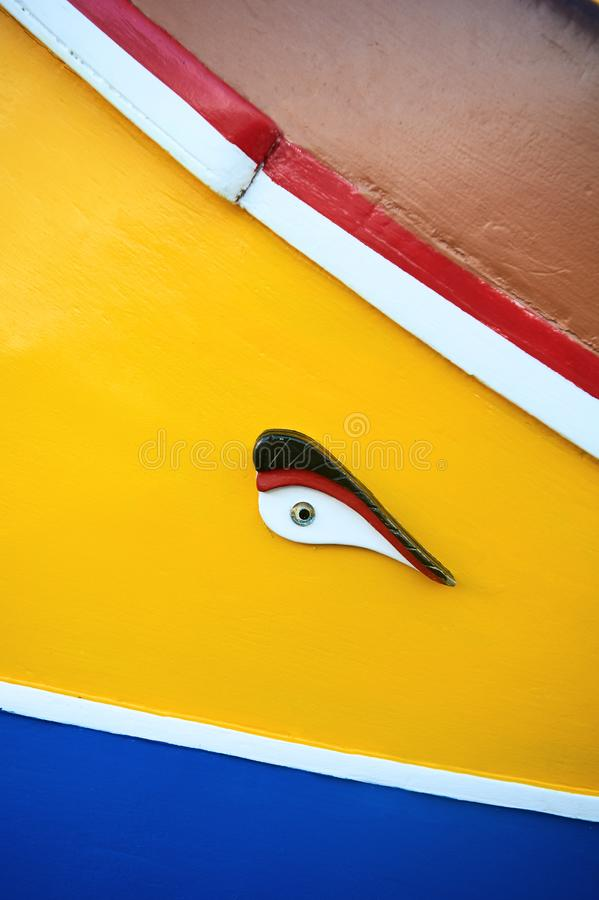 传统马尔他小船Luzzu细节 库存图片