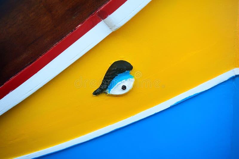 传统马尔他小船luzzu细节 免版税库存照片