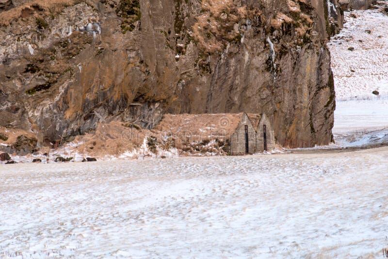 传统,古老冰岛草皮议院 库存图片