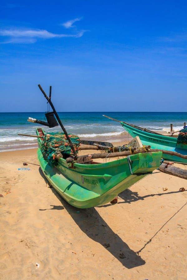 传统,斯里兰卡的渔船,海滩,科伦坡,斯里兰卡 免版税图库摄影
