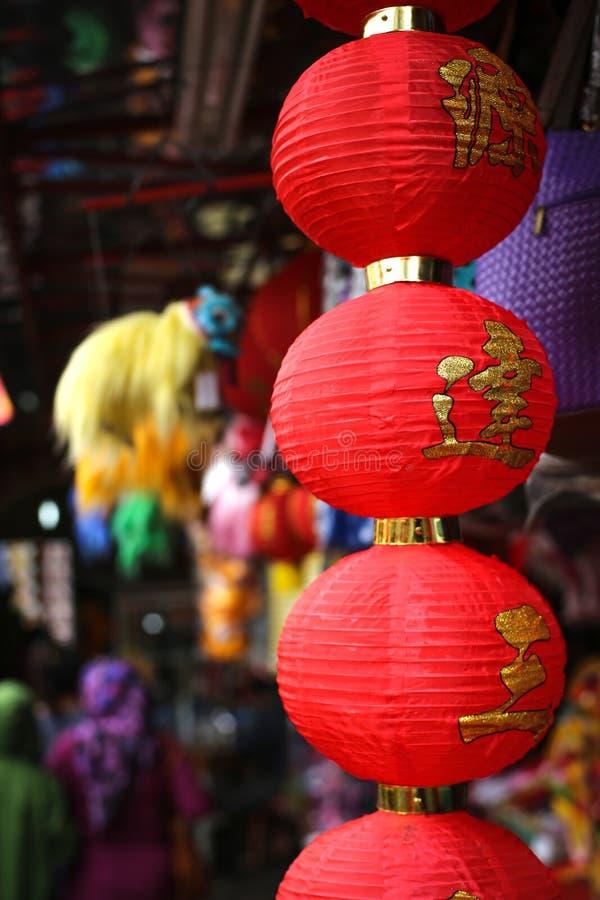 传统lampions chinesse,在雅加达印度尼西亚 免版税库存照片