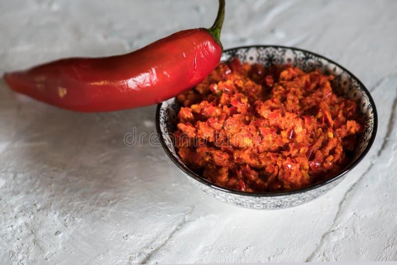 传统Maghrebi辣椒调味汁酱harissa Marocco和阿拉伯烹调 格鲁吉亚adjika 意大利peperoncino sause 库存照片